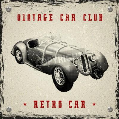Poster vintage car poster design with pixel print halftone dot texture