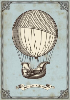 Poster vintage card with hot air balloon