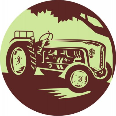 Poster Vintage Farm Tractor Circle Woodcut