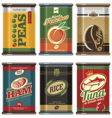 Poster Vintage food cans