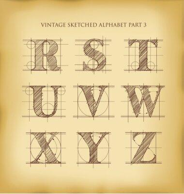 Poster Vintage hand drawn alphabet
