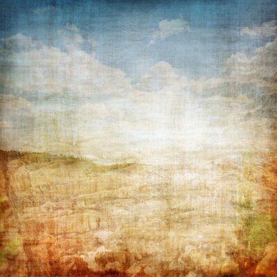 Poster Vintage Landscape Fabric Background