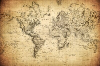 Poster vintage map of the world 1814..