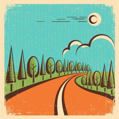 Poster Vintage Nature landscape with road
