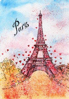 Poster vintage postcard. watercolor illustration. Paris,France, Eiffel Tower
