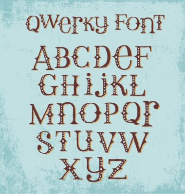 Poster vintage quirky hand drawn font with mixed upper and lower case letters