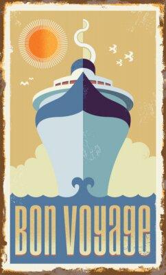 Poster Vintage retro cruise ship vector design - metal sign poster