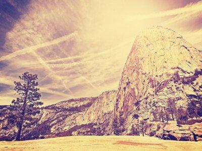 Poster Vintage stylized nature mountain background, USA.