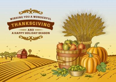 Poster Vintage Thanksgiving Landscape