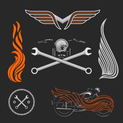 Poster Vintage vector motorcycle logos, emblems, templates, labels, symbols  and motorbike design elements.