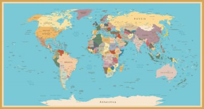 Vintage world map posters for the wall • posters multi-colour ...