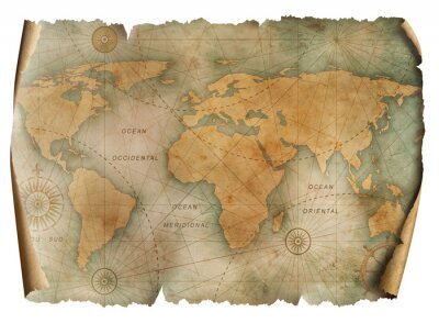 Poster Vintage world map parchment isolated on white. Based on image furnished from NASA.