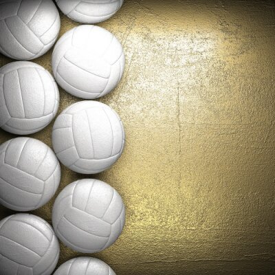 Poster Volleyball ball and golden wall background