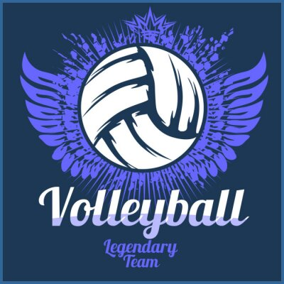 Poster Volleyball championship logo with ball - vector illustration.