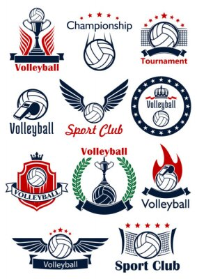 Poster Volleyball game icons, emblems and symbols