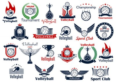 Poster Volleyball sport game icons and symbols
