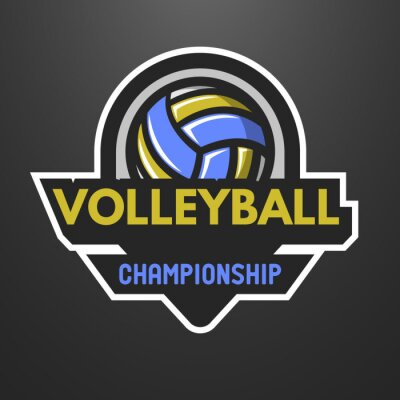 Poster Volleyball sports logo, label, emblem.