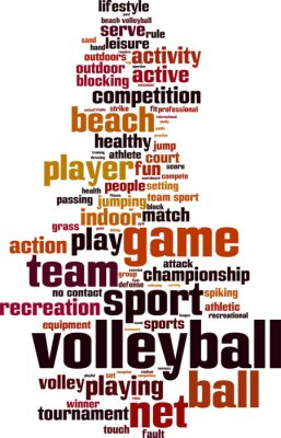 Poster Volleyball word cloud concept. Vector illustration