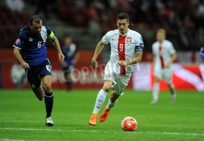 Poster WARSAW, POLAND - SEPTEMBER 07, 2015: EURO 2016 France Football Euro Cup Qualifiers Poland vs Gibraltarop Roy Chipolina Robert Lewandowski