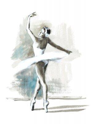 Poster Watercolor Ballerina Hand Painted Ballet Dancer Illustration