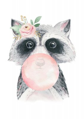 Poster Watercolor forest cartoon isolated cute baby raccoon, animal with flowers. Nursery woodland illustration. Bohemian boho drawing for nursery poster, pattern