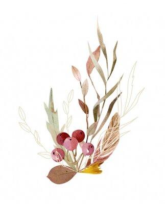 Poster Watercolor hand painted composition - arrangement, bouquet. Soft gentle color palette.