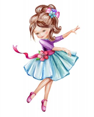Poster watercolor illustration, cute little ballerina, young girl in blue dress, dancing child, doll, clip art isolated on white background