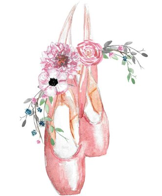 Poster Watercolor illustration of pointe shoes with a floral arrangement