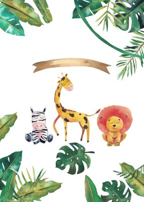 Poster Watercolor invitation with wild animals and jungle leaves. Children hand-drawn illustration