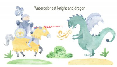 Poster Watercolor knight and dragon duel