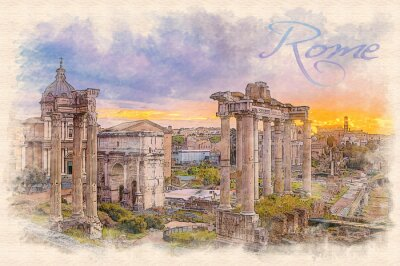 Poster Watercolor painting effect illustration of a dawn over the Roman forum