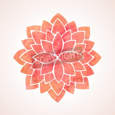 Poster Watercolor red lotus Flower pattern on white background