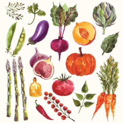 Poster Watercolor vegetables and fruit