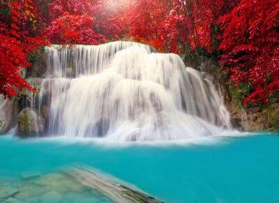 Poster Waterfall in deep rain forest jungle (Huay Mae Kamin Waterfall i