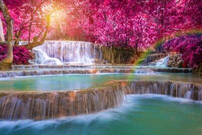 Poster Waterfall in rain forest (Tat Kuang Si Waterfalls at Luang praba