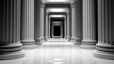 Poster White marble pillars in a row inside a building