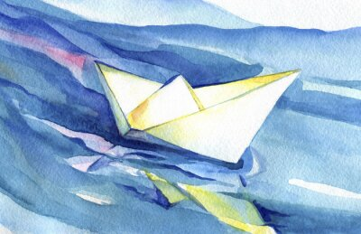 Poster White paper ship sails on the waves. Watercolor painting of the ship and sea water.