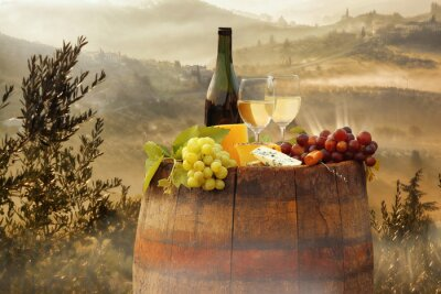 Poster White wine with barrel on vineyard in Chianti, Tuscany, Italy