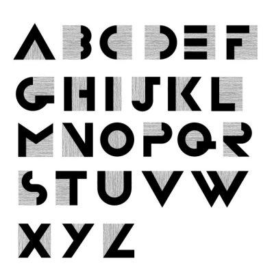 Poster Wide decorative retro alphabet