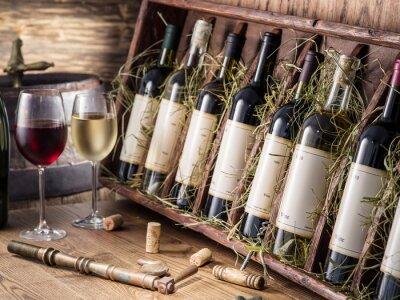 Poster Wine bottles on the wooden shelf.