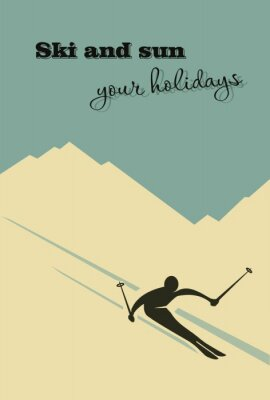 Poster  Winter background. Skier slides from the mountain.