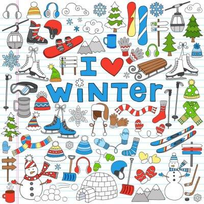 Poster Winter Fun Back to School Notebook Doodles- Vector Illustration