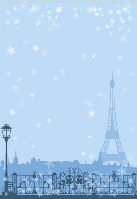 Poster winter Paris background