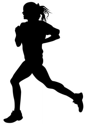 Poster Woman athletes on running race on white background