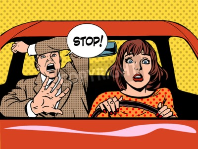 Poster woman driver driving school panic calm retro style pop art. Car and transport