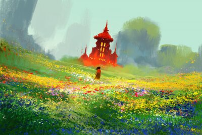 Poster woman in flower fields next to red castle and mountain,illustration painting