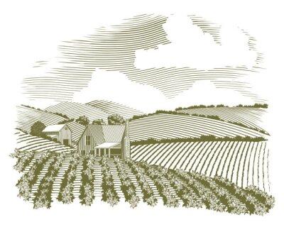 Poster Woodcut Rural Farm House