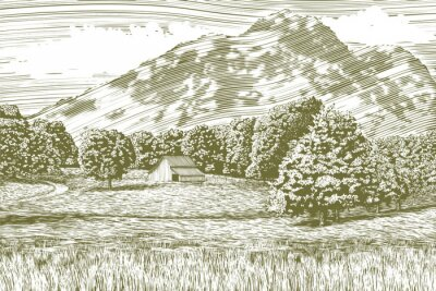 Poster Woodcut-style illustration of a farm and barn with a mountain in the background.