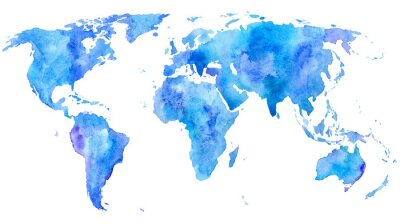 Poster World map.Earth.Watercolor hand drawn illustration.White background.