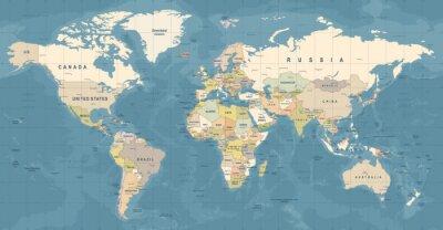 Poster World Map Vector. Detailed illustration of worldmap